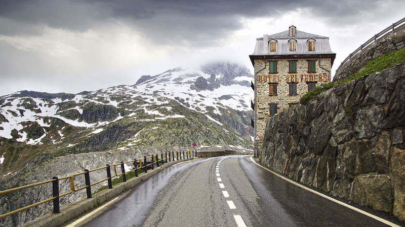 Driving Furka Pass Switzerland