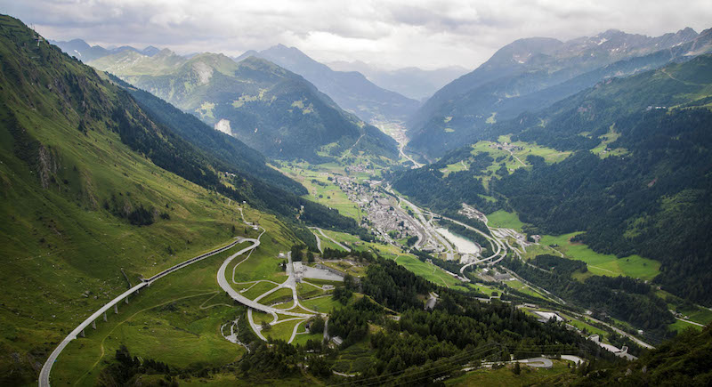 Driving St Gotthard Pass Switzerland