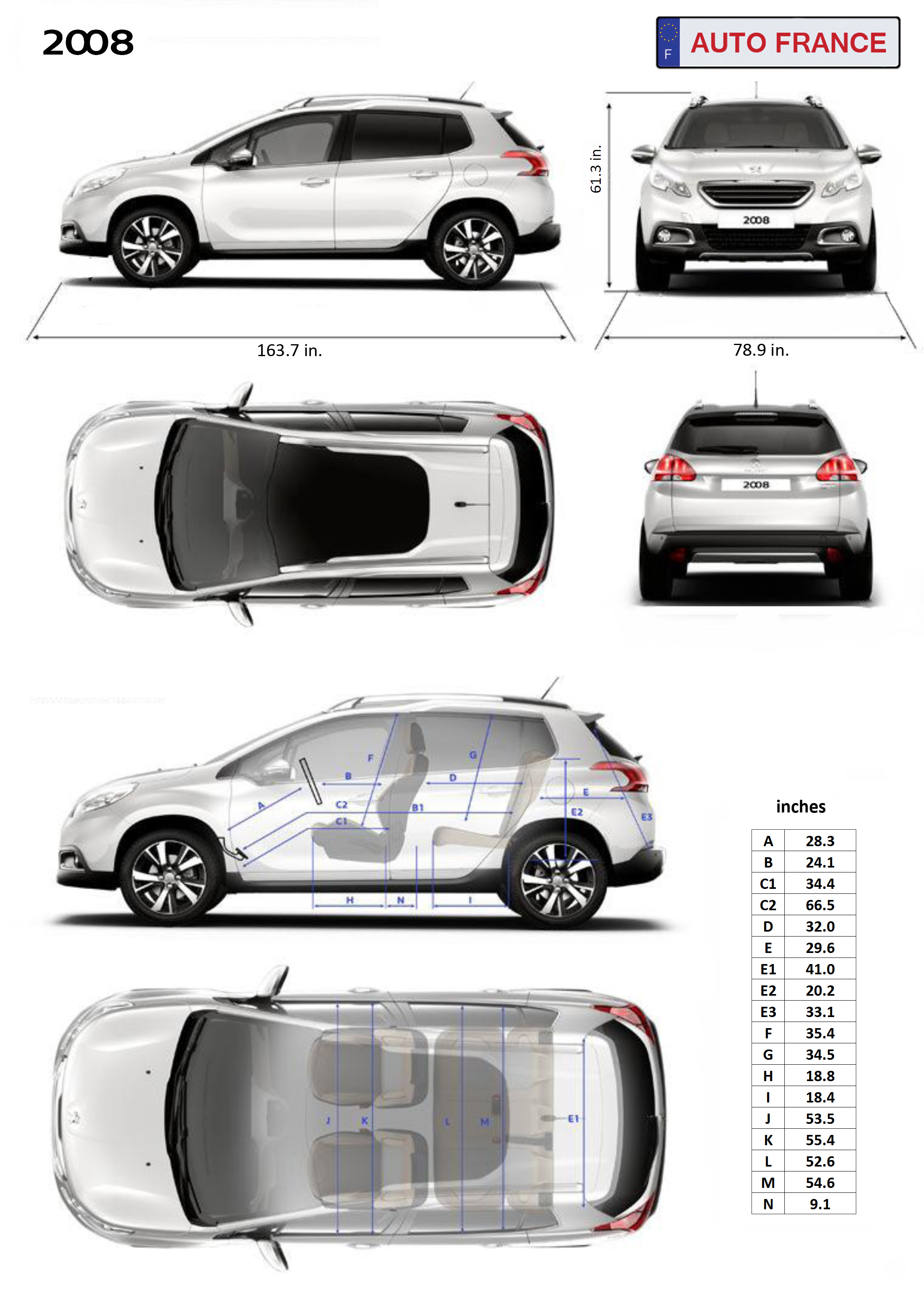 peugeot 2008 information - dimensions - specifications